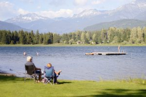 Elderly Couple Relaxes By Lake After Retiring On Superannuation