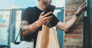 gig economy worker delivers food